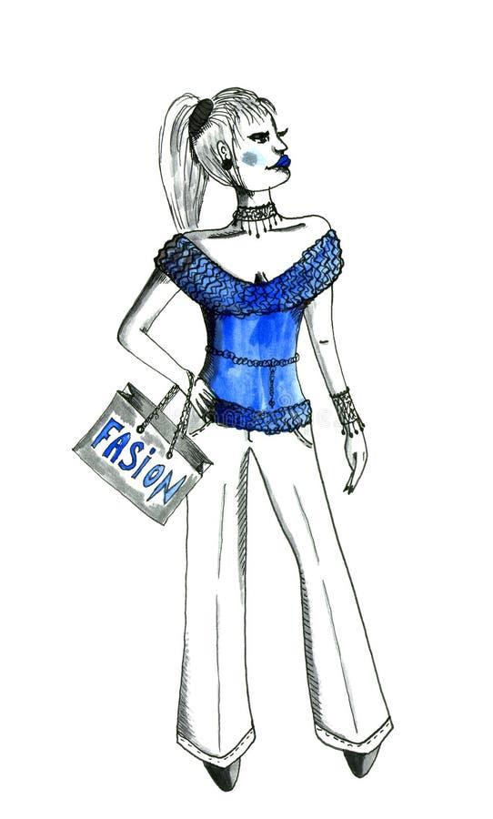 Modieus meisje in blauw royalty-vrije illustratie