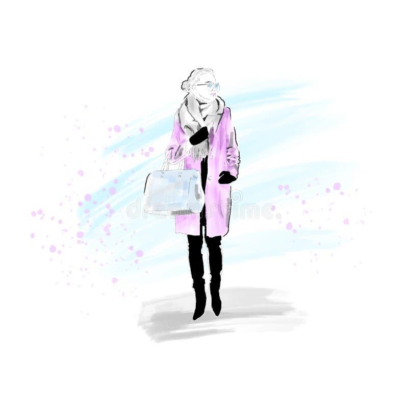 Modieus Meisje in de winterlaag, sjaal en met zak Het meisje is een hipster Met de hand geschilderd Vector Eps 10 stock illustratie