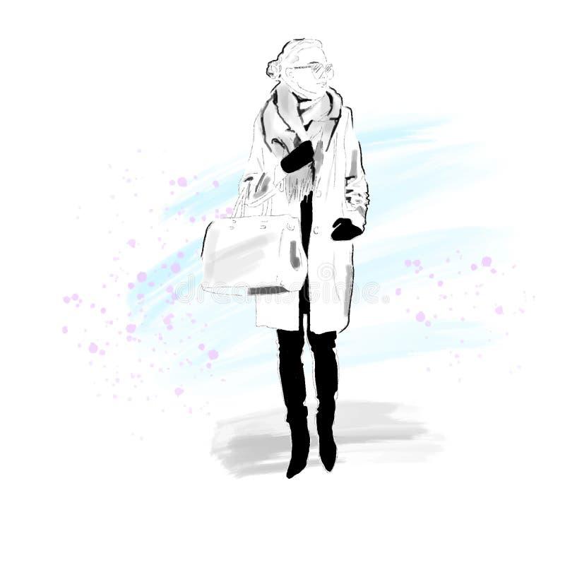 Modieus Meisje in de winterlaag, sjaal en met zak Het meisje is een hipster Met de hand geschilderd Vector Eps 10 vector illustratie
