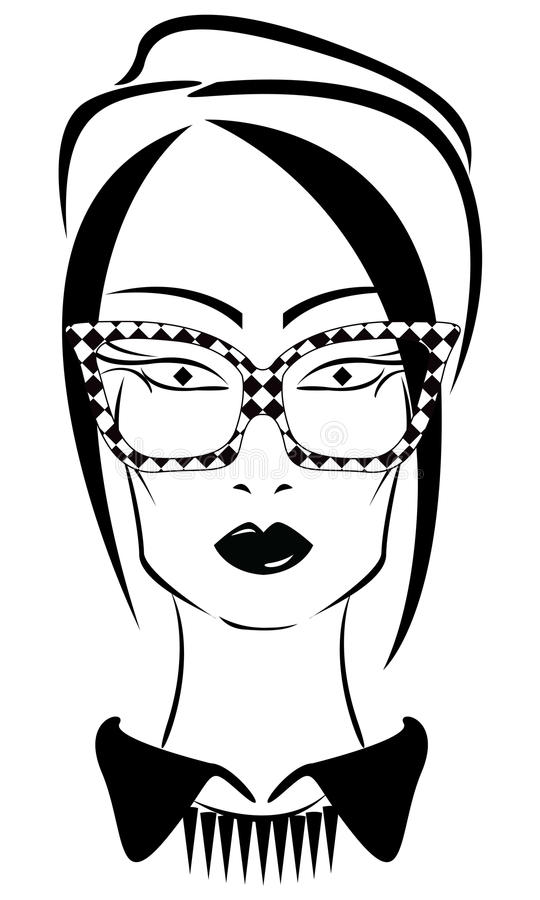 Modieus meisje in een hoed stock illustratie