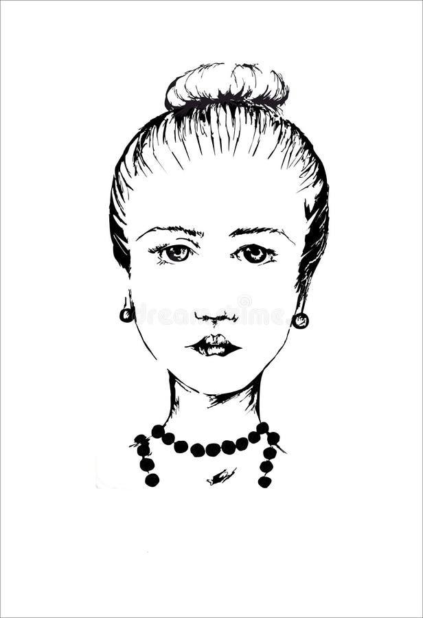 Modieus meisje met goede kapselstraal en halsband op de witte achtergrond stock afbeeldingen