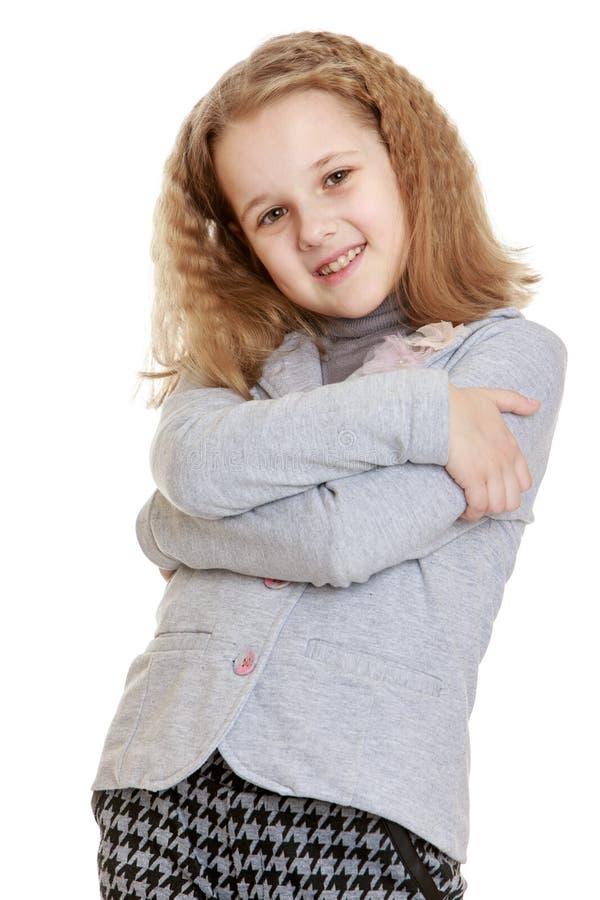 Modieus meisjesschoolmeisje royalty-vrije stock foto's