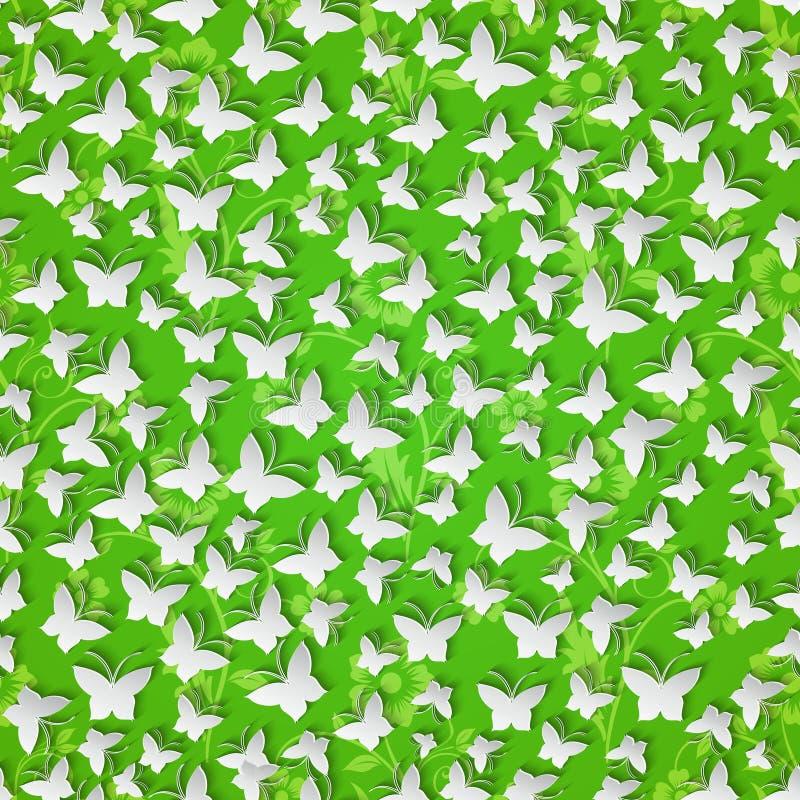 Modieus modern naadloos patroon als achtergrond met vlindersbesnoeiing stock illustratie