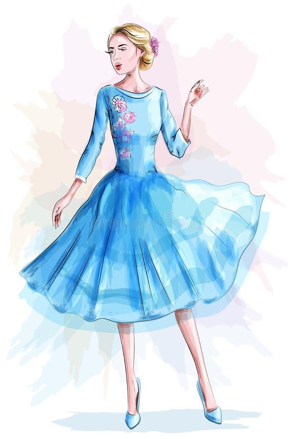 Modieus mooi meisje in blauwe kleding De vrouw van de manier schets stock illustratie