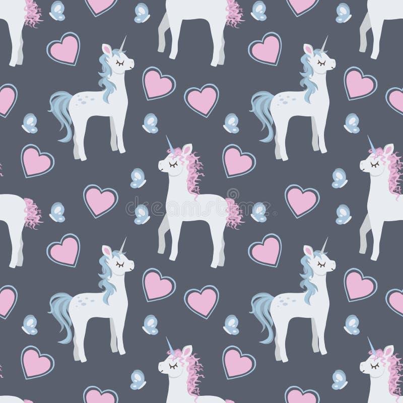 Modieus in naadloos patroon met leuke beeldverhaaleenhoorns met baby blauwe en roze manen en vlinders en harten stock illustratie