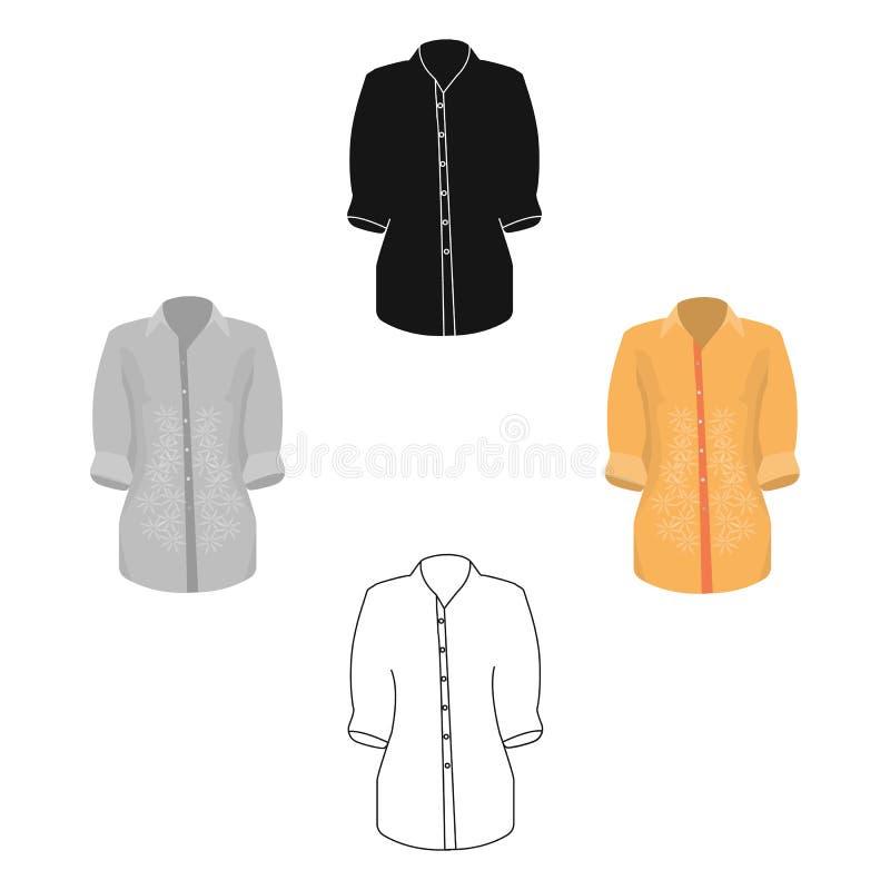Modieus oranje overhemd voor vrouwen De vrouwen kleedden zich in plechtige kleren De vrouw kleedt enig pictogram in vecto van de  royalty-vrije illustratie