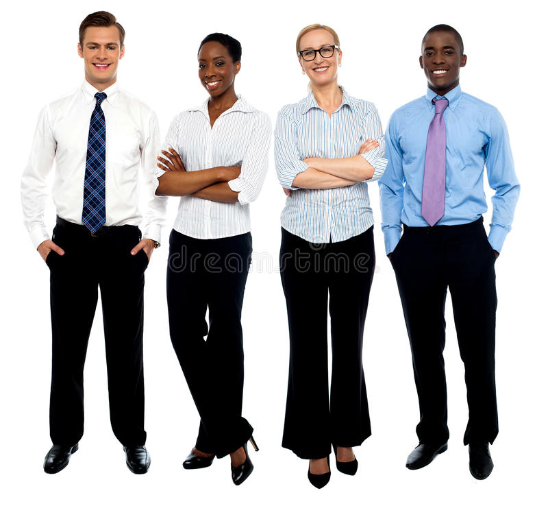 Modieus portret van vier bedrijfsmensen stock foto
