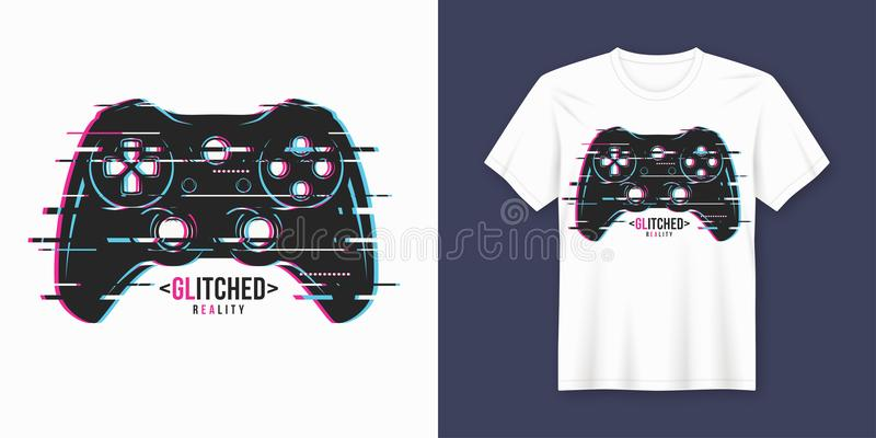 Modieus t-shirt en kledings in ontwerp met glitchy gamepad, stock illustratie