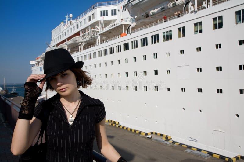 Modieus toeristenmeisje royalty-vrije stock foto's
