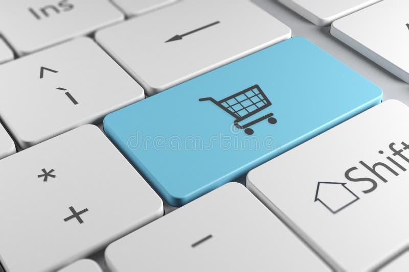 Modieus toetsenbord dichte omhooggaande mening met blauwe knoop en het winkelen c stock illustratie