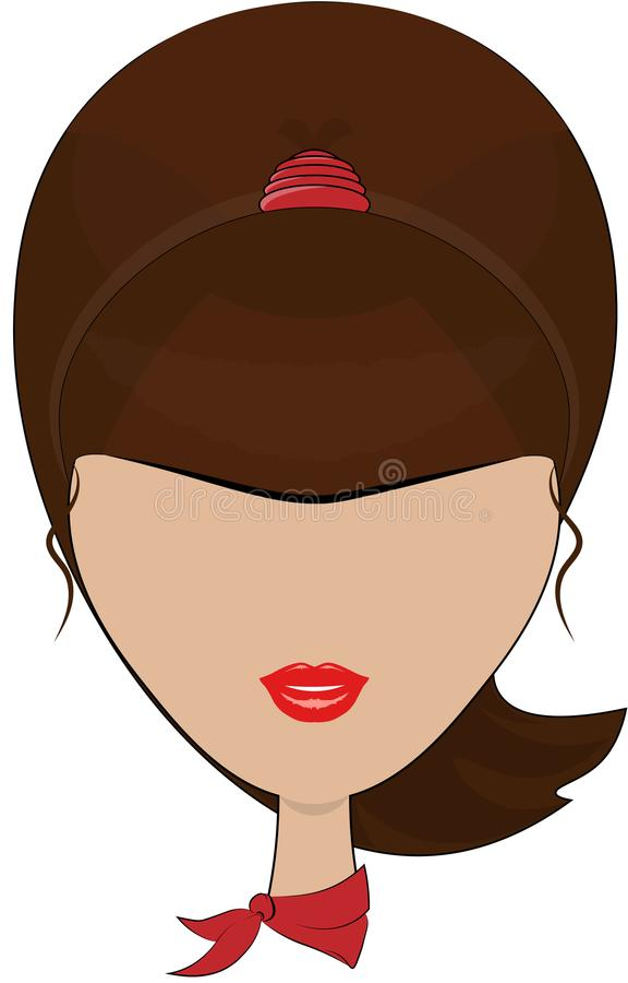 Modieus Vectorbeeld van een kapsel van een jong donkerbruin meisje, met een rode hoofddoek op haar hals, op een geïsoleerde achte royalty-vrije illustratie