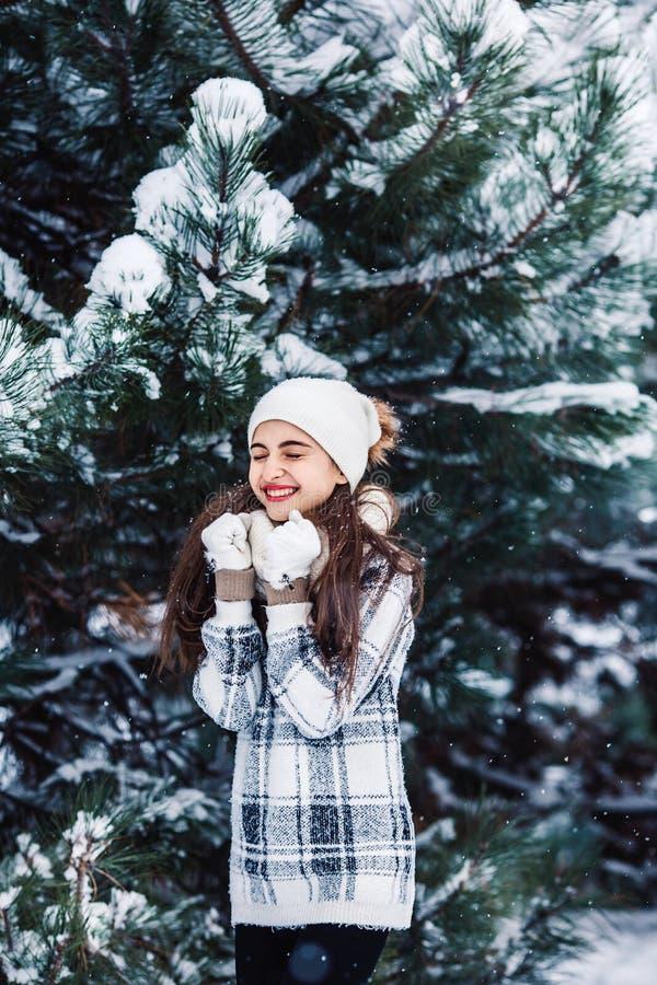 Modieus vrolijk meisje in een sweater in het de winterbos royalty-vrije stock afbeeldingen