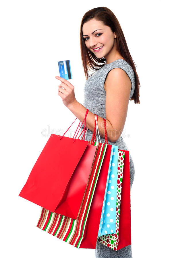 Modieus wijfje met het winkelen zakken stock afbeeldingen