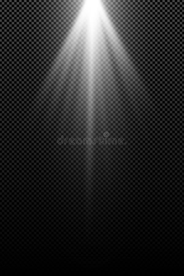 Modieus wit geïsoleerd lichteffect voor een transparante achtergrond Witte stralen Lampstralen Helder abstract licht Straling van royalty-vrije illustratie