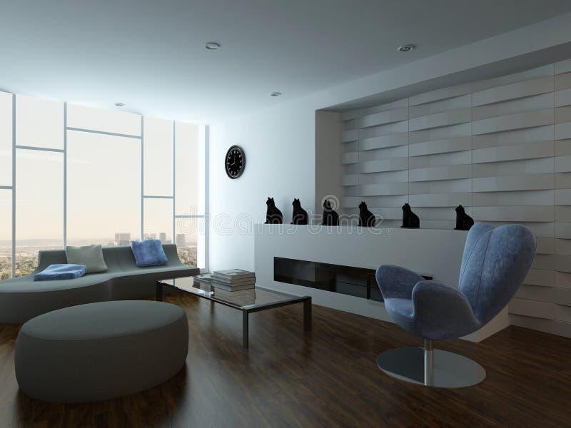 Modieus woonkamerbinnenland met laag en ontwerpmeubilair royalty-vrije illustratie