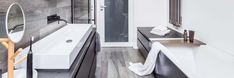 Modieuze badkamers met badkuip stock fotografie