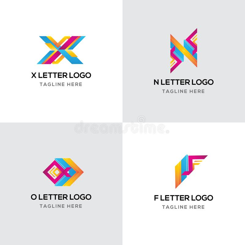 Modieuze Brief Kleurrijk Logo Template Design Vector File stock illustratie
