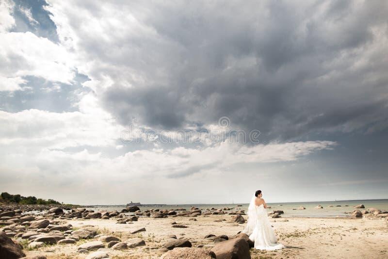 Modieuze bruid die op mooi landschap van overzees achteruitgaan royalty-vrije stock afbeelding