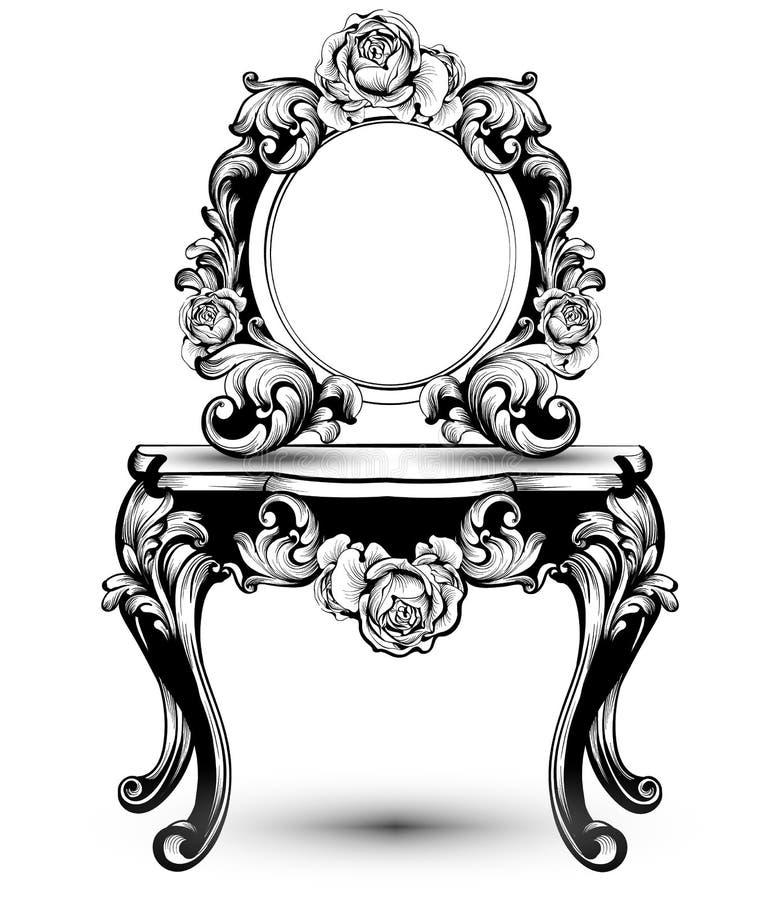 Modieuze consolelijst en spiegelkader met de roze Vector van bloemendecoratie Ingewikkelde de kunstillustraties van de ornamenten vector illustratie
