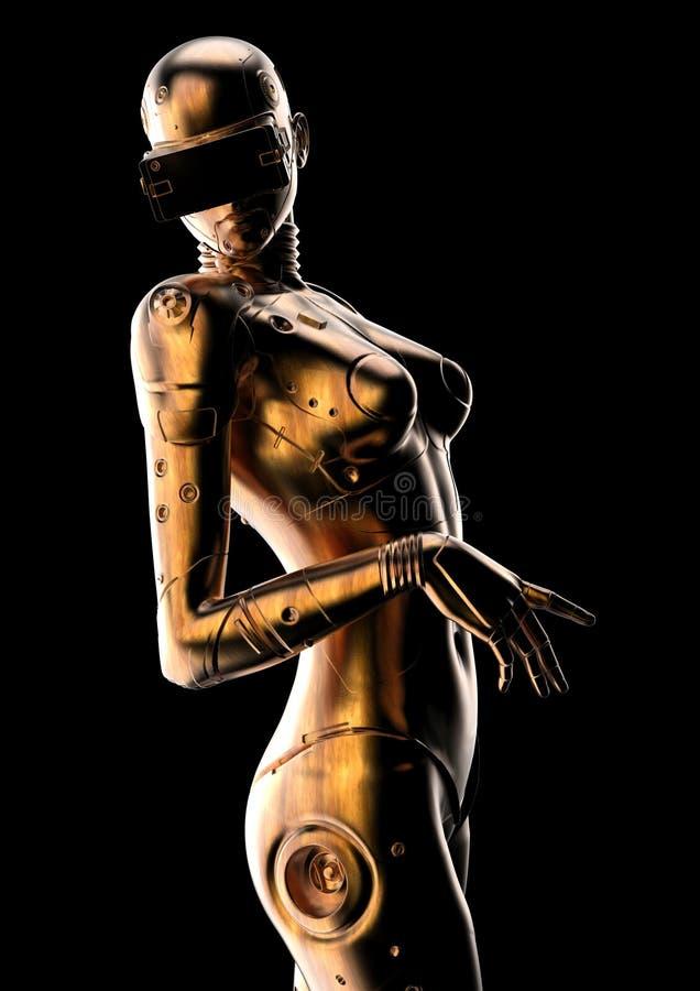 Modieuze cyborg de vrouw Futuristische androïde manier royalty-vrije illustratie