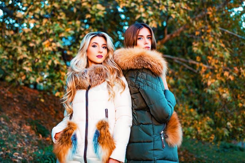 Modieuze dames die de kleding van de bontstijl voor buitenkant dragen De herfstmodetrend Manier openluchtfoto van schitterend royalty-vrije stock foto
