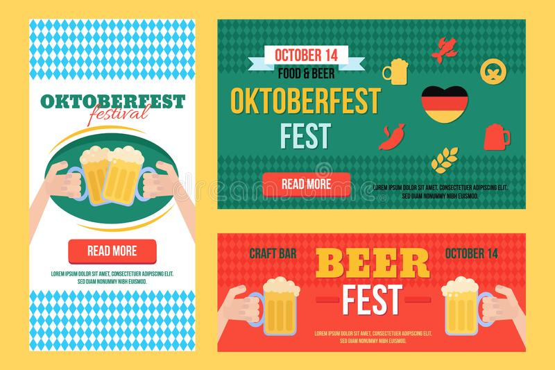Modieuze die Oktoberfest-Banners met voedsel en drank worden geplaatst royalty-vrije illustratie