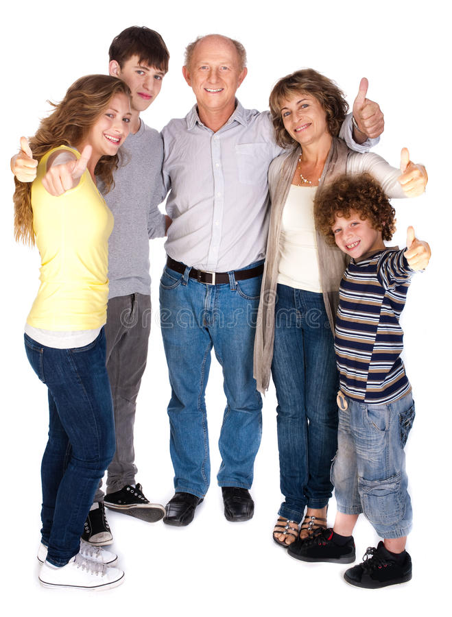 Modieuze duim-omhooggaande familie stock afbeelding