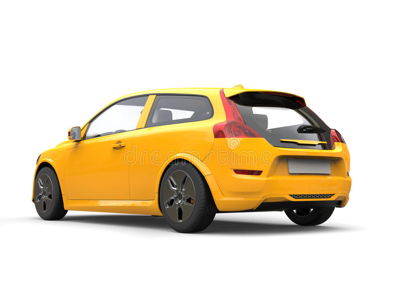 Modieuze gele moderne elektrische familieauto royalty-vrije illustratie