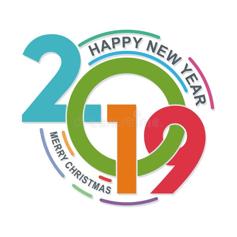 Modieuze gelukkige nieuwe jaar 2019 tekst - aantalontwerp vector illustratie