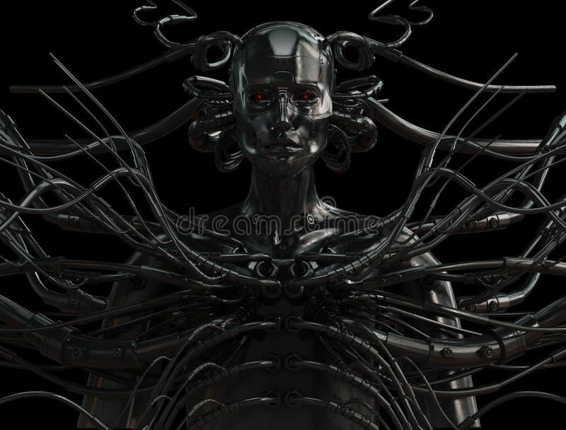 Modieuze getelegrafeerde cyber mens royalty-vrije illustratie