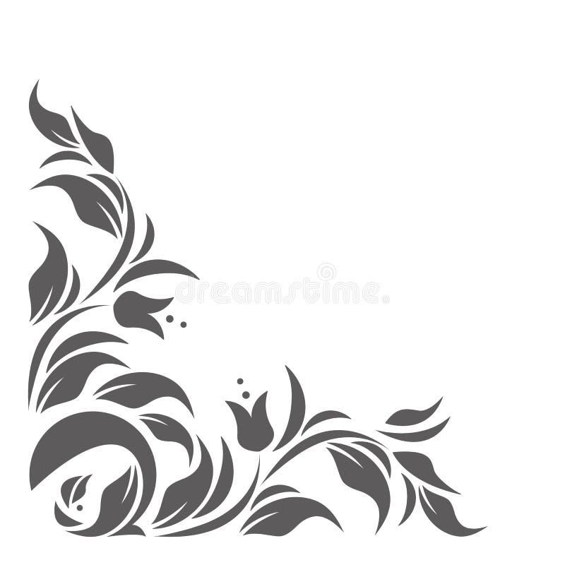 Modieuze grens met klassiek bloemenornament stock illustratie