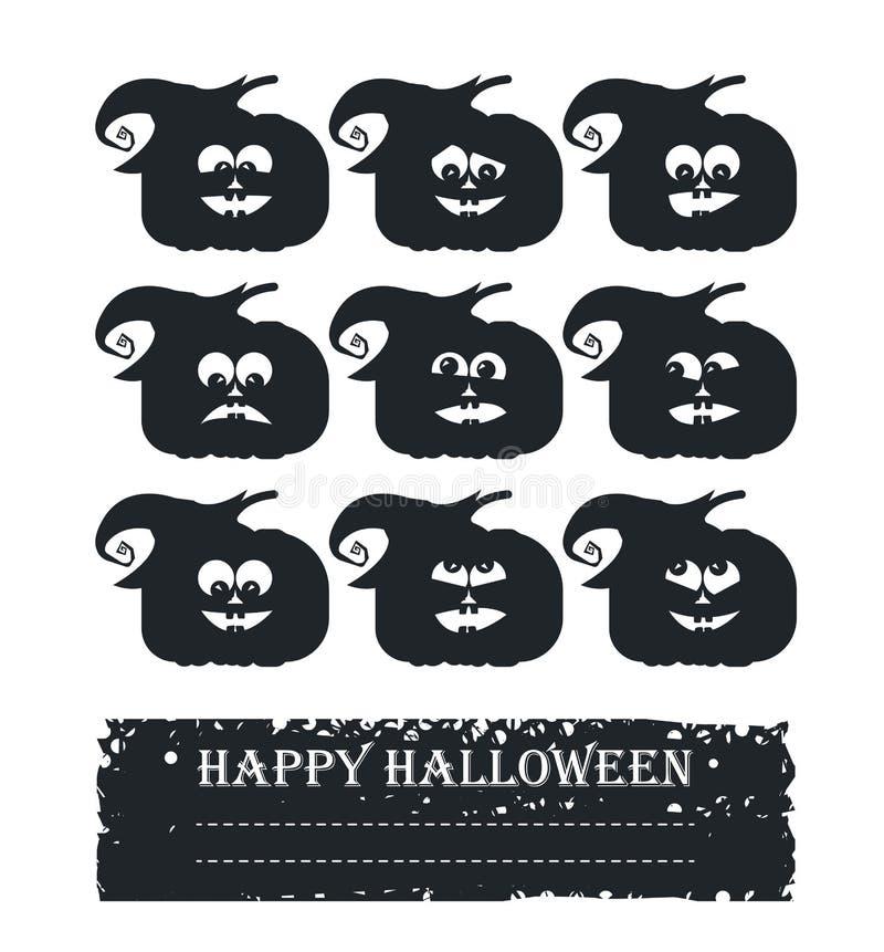 Modieuze Halloween-kaart met het gezicht en de plaats van de krabbelpompoen voor y vector illustratie