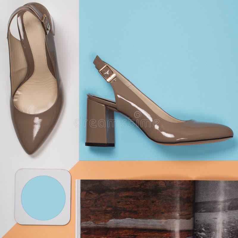 Modieuze In hielen De Uitrusting van de de zomermanier, de schoenen van de Luxepartij Hipsterhoofdzaak Minimaal manierconcept royalty-vrije stock foto