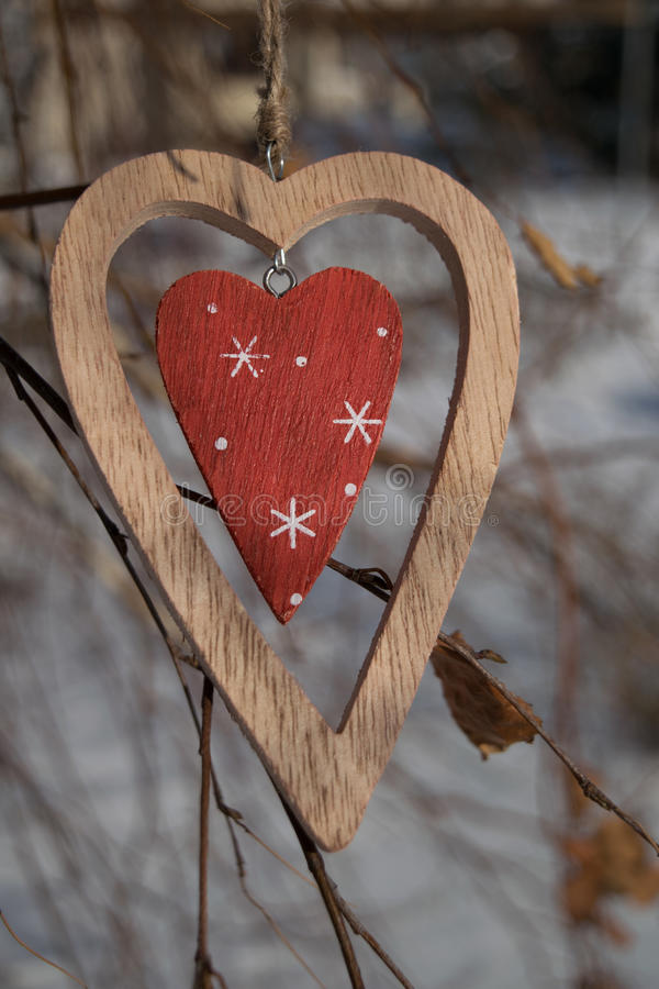 Modieuze houten hartclose-up op een tak in de winter royalty-vrije stock afbeelding