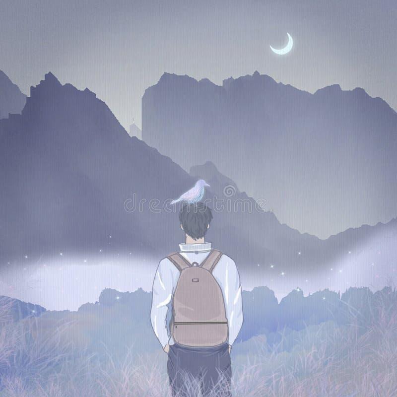 Modieuze jonge mensenrugzak glanst de openlucht wandelingsreis, de maan ver vanaf de bergen vector illustratie