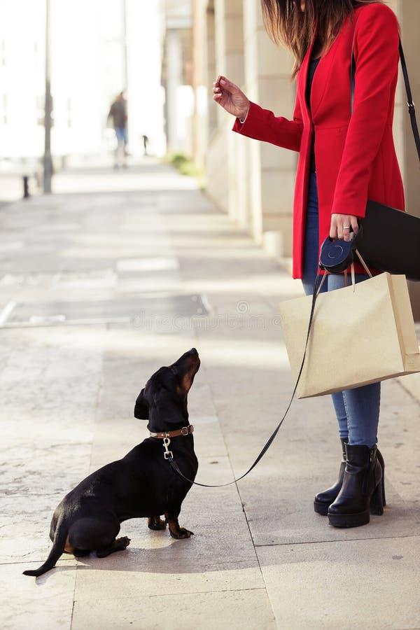 Modieuze jonge mooie vrouw die haar zoete hond playfuly in de straat voeden royalty-vrije stock foto's