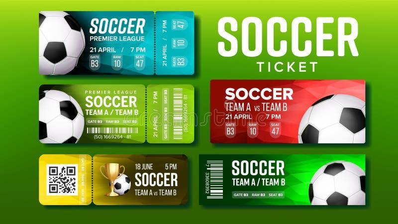 Modieuze Kaartjes voor de Gelijke Vastgestelde Vector van het Bezoekvoetbal stock illustratie