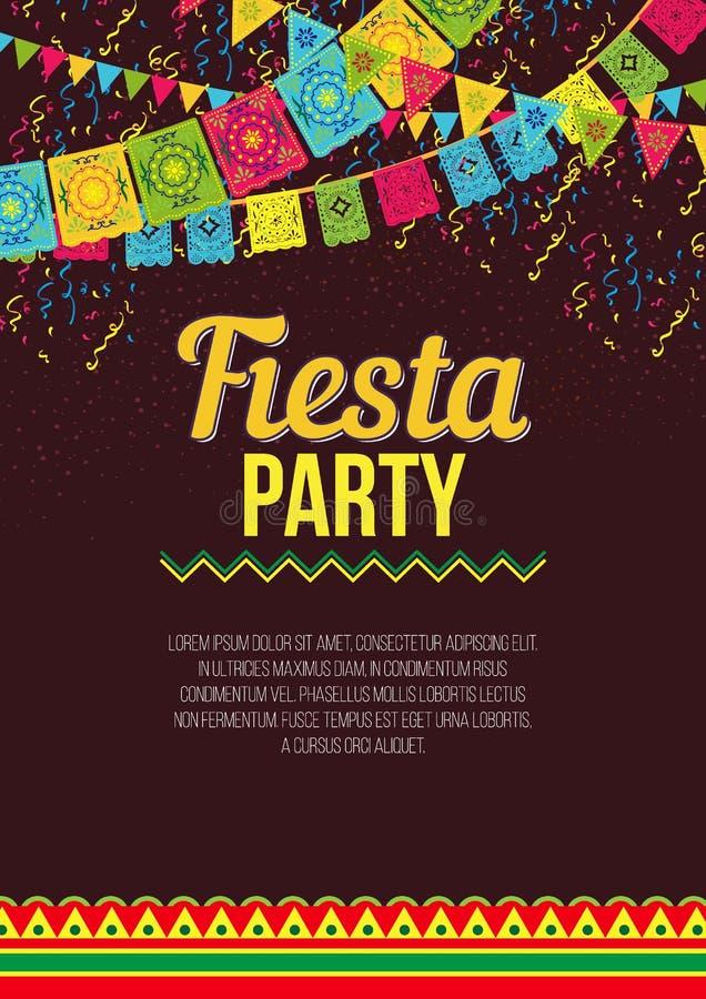 Modieuze kleurrijke affiche die aan Fiesta roepen vector illustratie