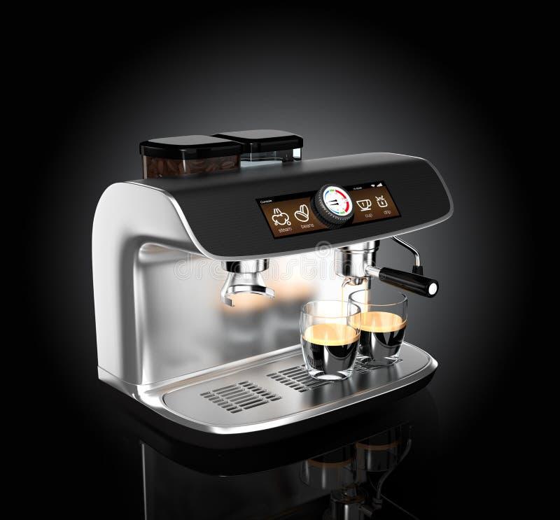 Modieuze koffiemachine het brouwen espresso in twee glazen stock illustratie