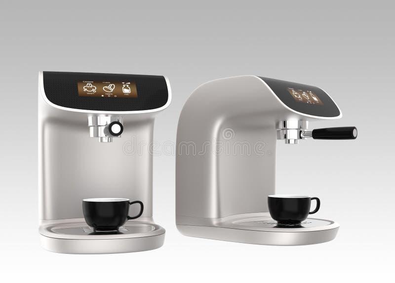 Modieuze koffiemachines met het aanrakingsscherm royalty-vrije illustratie
