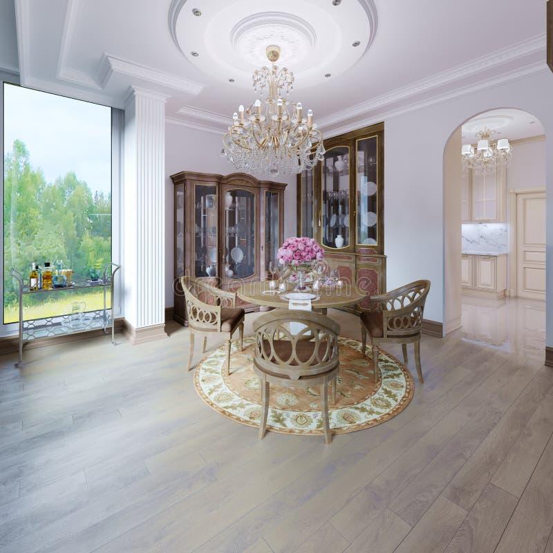 Modieuze luxe klassiek binnenland van een eetkamer Bruin kleuren houten binnenlands ontwerp stock illustratie