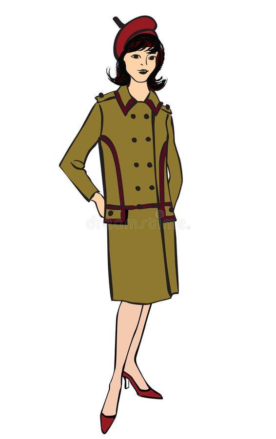 Modieuze manier gekleed meisje (de stijl van jaren '50jaren '60 stock illustratie
