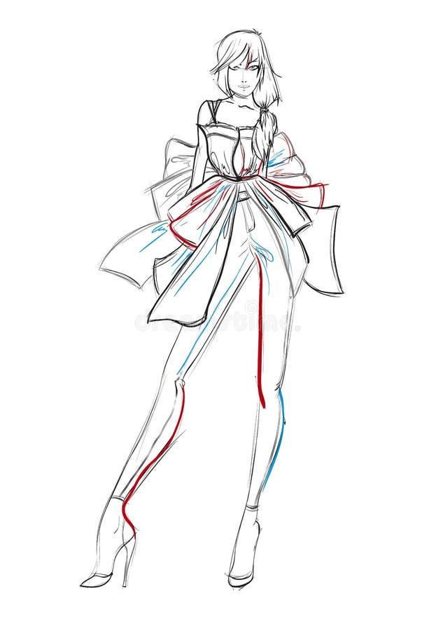 Modieuze mannequins De schets van het maniermeisje stock illustratie