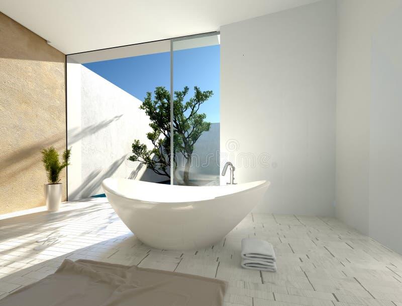 Modieuze moderne boot-vormige badkuip royalty-vrije illustratie