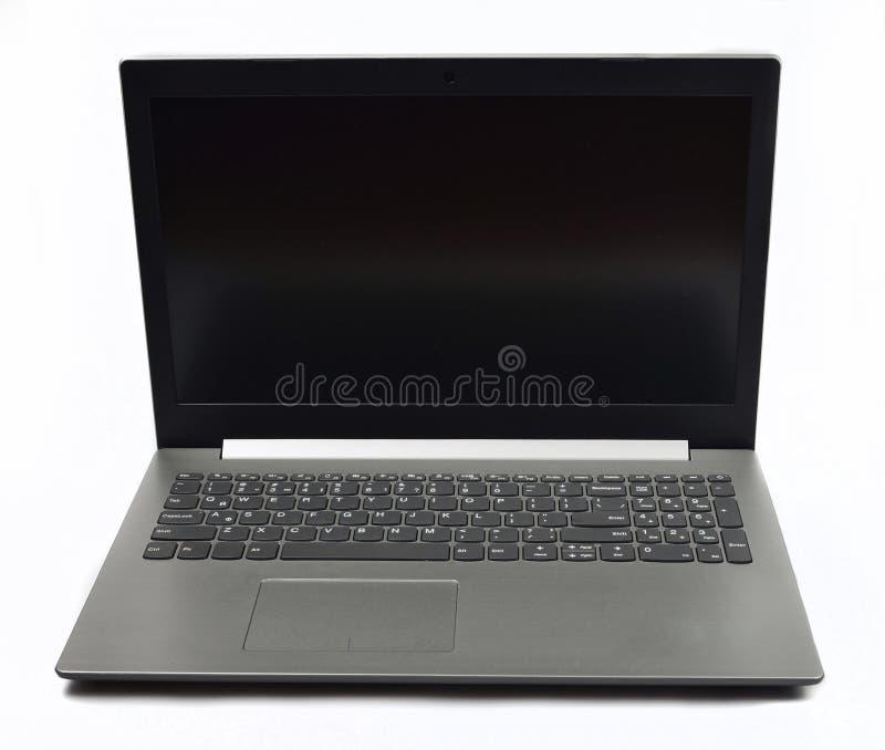 Modieuze moderne laptop op witte achtergrond royalty-vrije stock foto