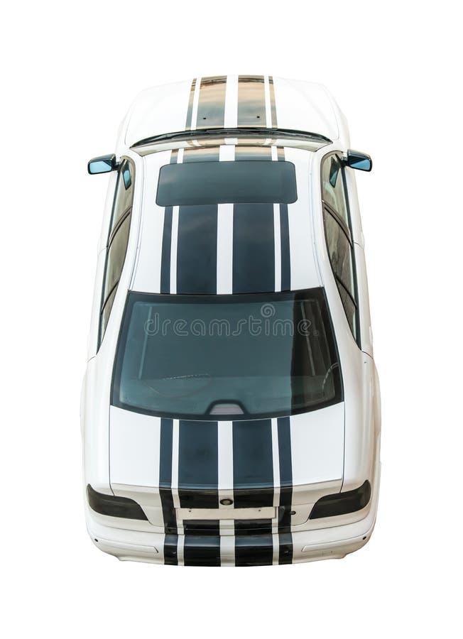 Modieuze, moderne, sportieve witte auto met zwarte verwijderde die strepen, op witte achtergrond worden geïsoleerd royalty-vrije stock afbeeldingen