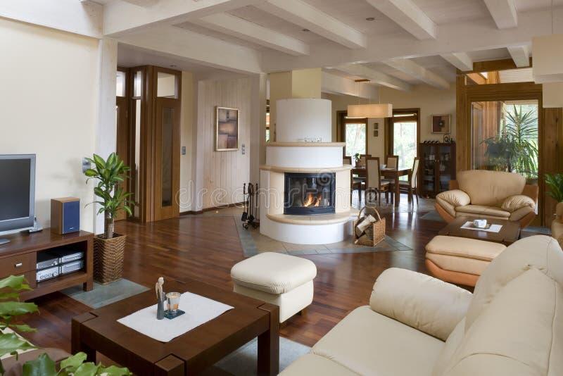 Modieuze moderne woonkamer. royalty-vrije stock afbeeldingen