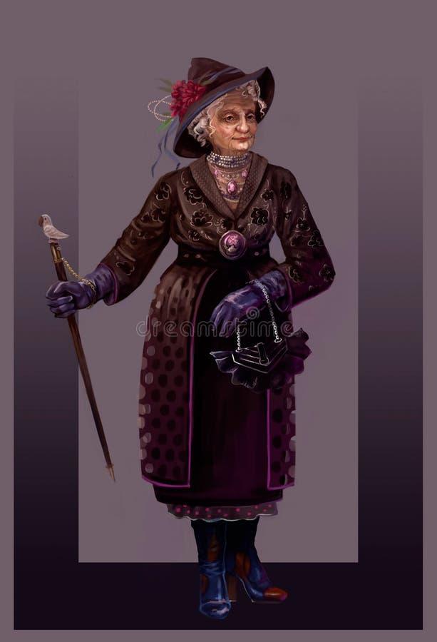 Modieuze oma op de leeftijd van royalty-vrije illustratie