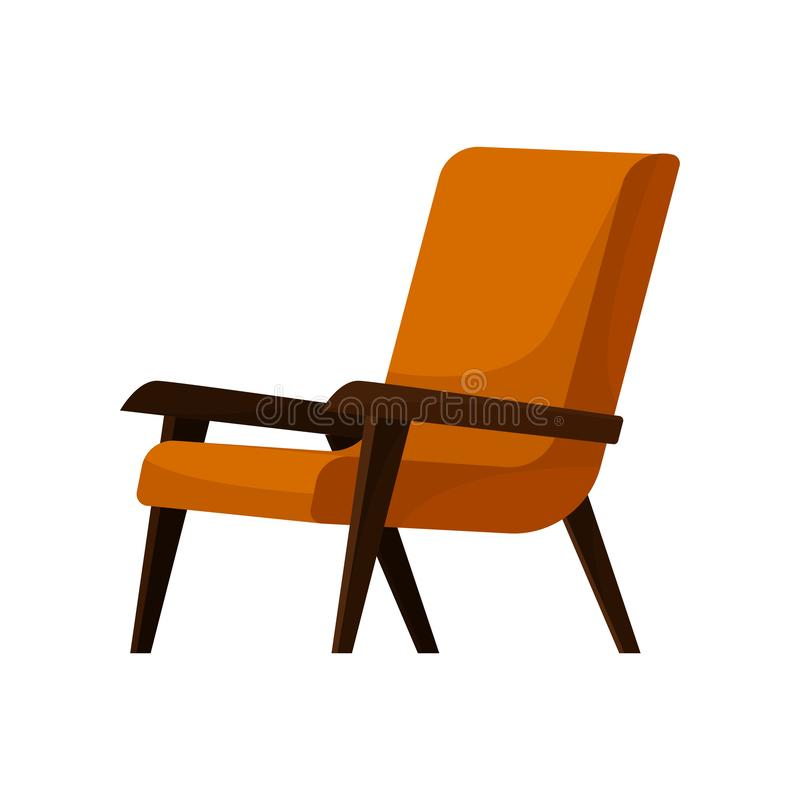 Modieuze oranje leunstoel met houten armen en benen Comfortabele stoel voor woonkamer Zacht meubilair Vlak vectorpictogram stock illustratie