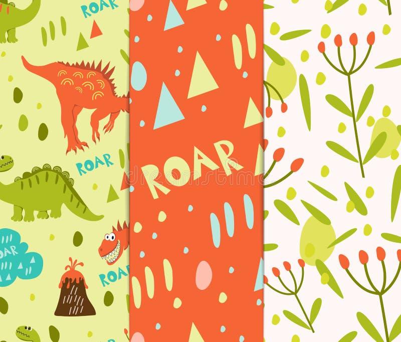 Modieuze reeks om de achtergrond te drukken Oranje en groene dinosaurussen en een vulkaan Creeer een inzameling van de kleding va stock illustratie